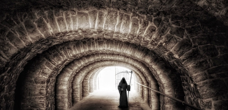 death, grim reaper, tunnel, life, journey