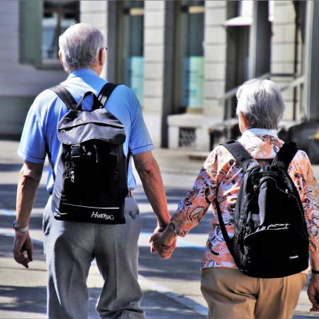 Old couple walking travel